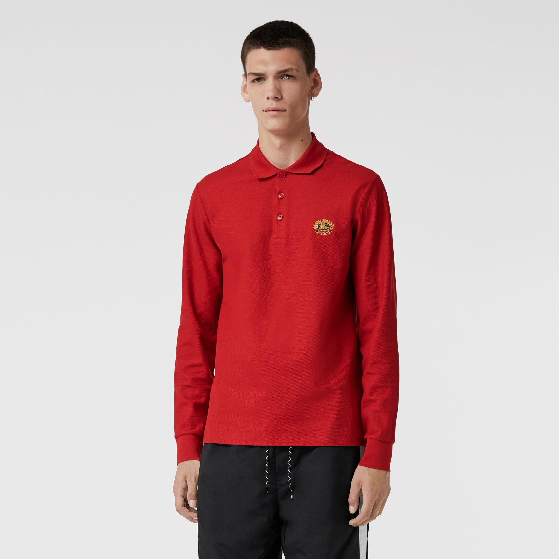 Long-sleeve Archive Logo Cotton Piqué Polo Shirt in Poppy Red - Men | Burberry - gallery image 0