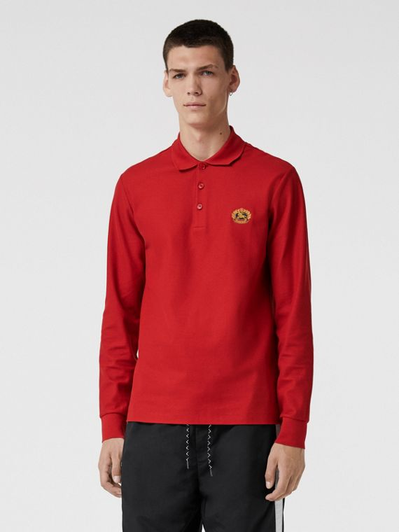 Long-sleeve Archive Logo Cotton Piqué Polo Shirt in Poppy Red
