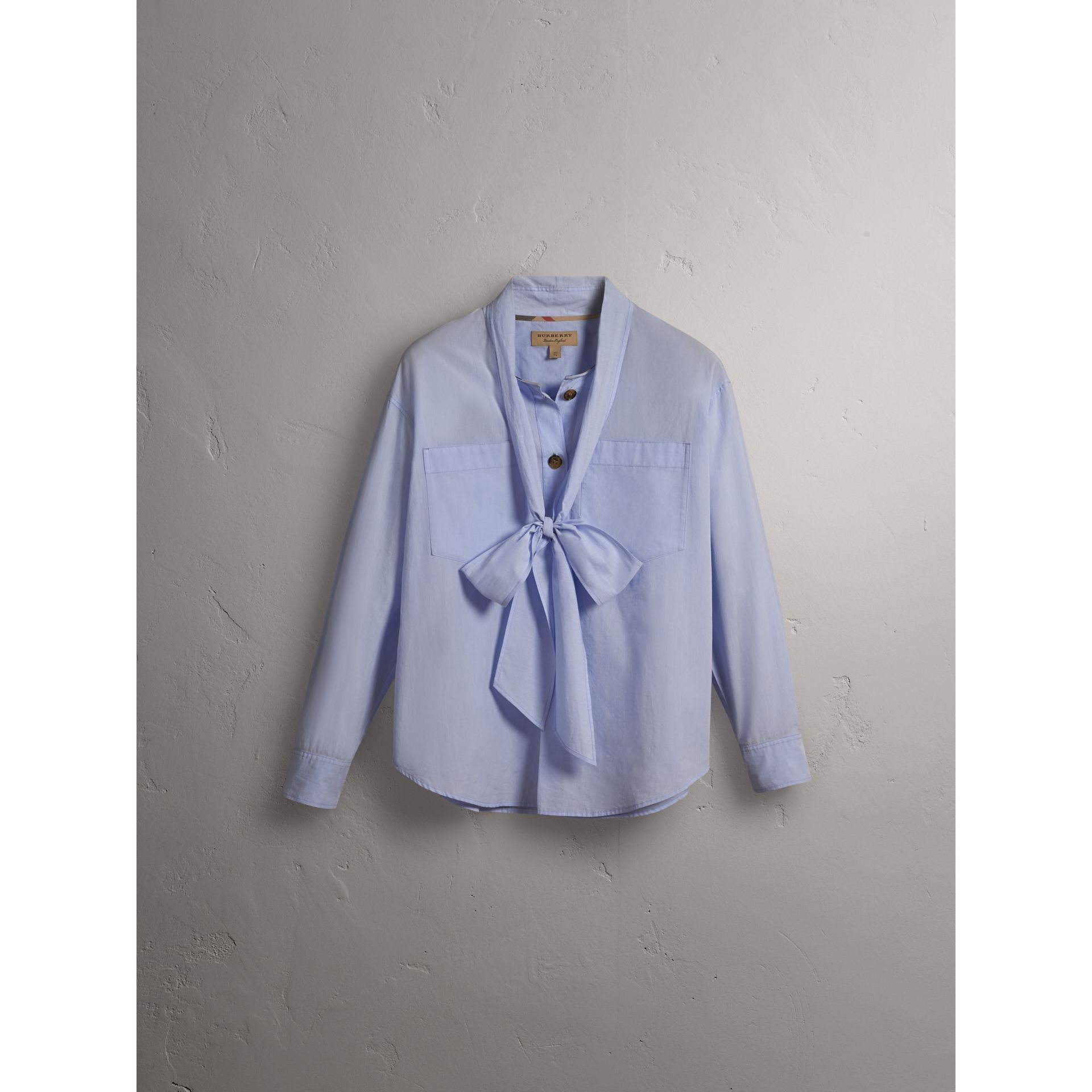 Cotton Tie Neck Shirt in Pale Blue - Women | Burberry - gallery image 4