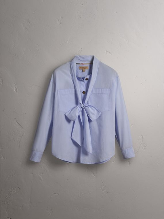 Cotton Tie Neck Shirt in Pale Blue - Women | Burberry - cell image 3