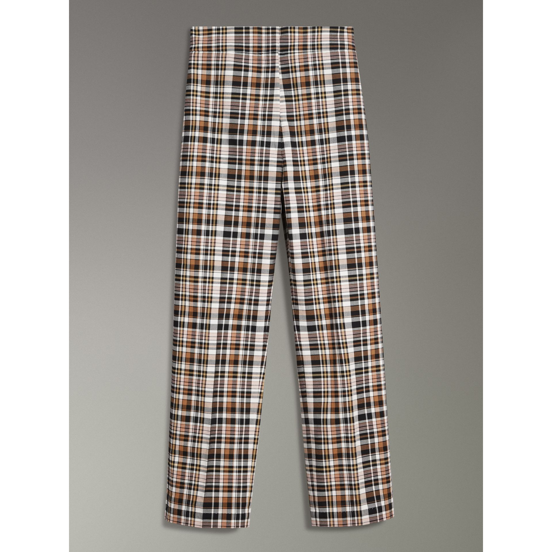 Check Stretch Cotton High-waisted Trousers in Bright Toffee - Women | Burberry - gallery image 3