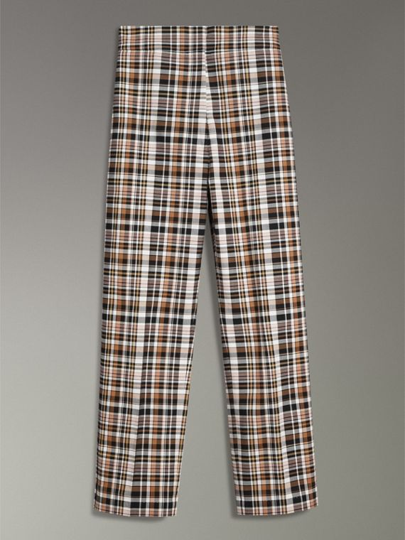 Check Stretch Cotton High-waisted Trousers in Bright Toffee - Women | Burberry United Kingdom - cell image 3