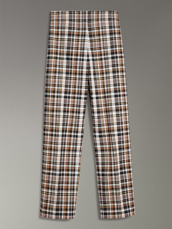 Check Stretch Cotton High-waisted Trousers in Bright Toffee - Women | Burberry Canada - cell image 3