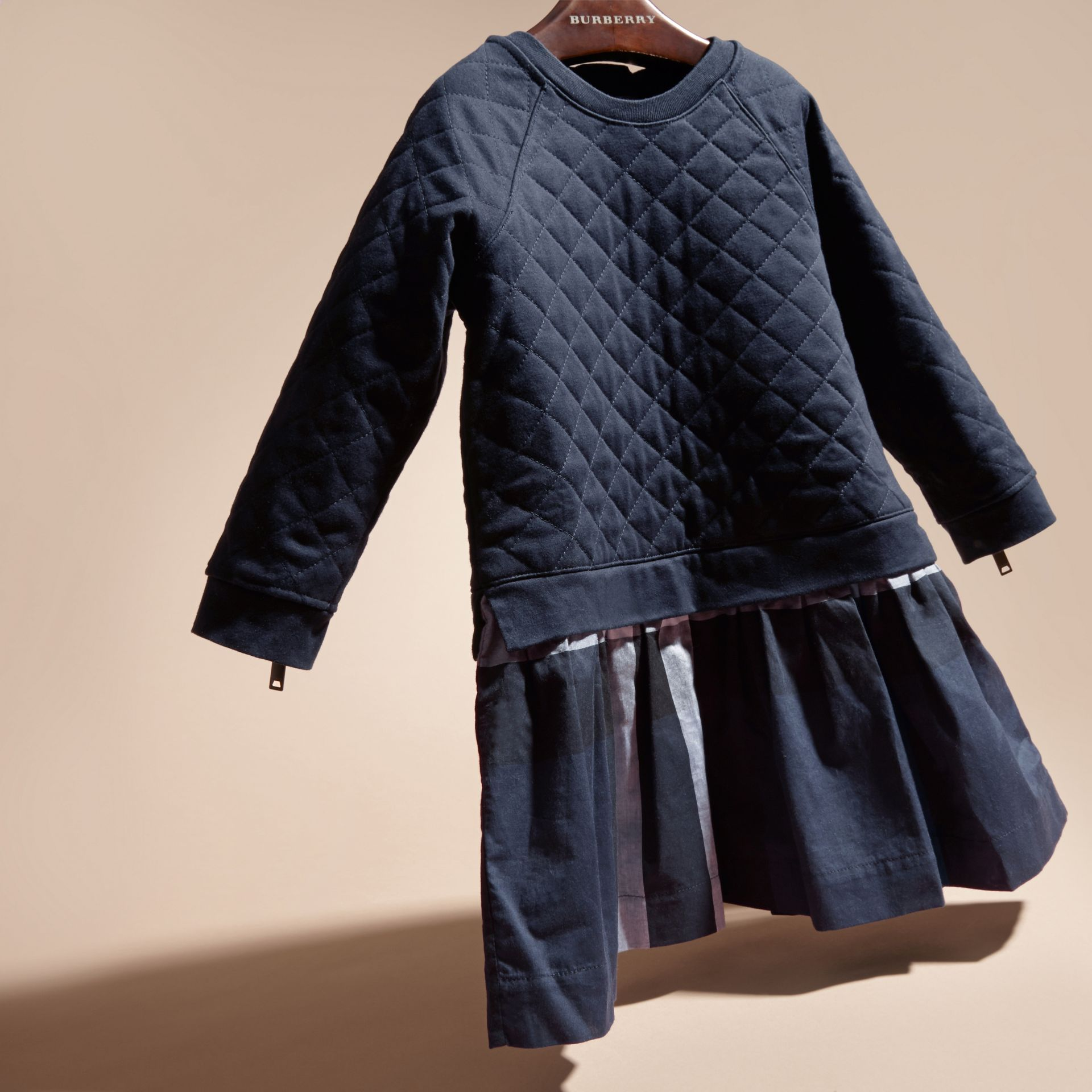 Navy Quilted Jersey and Check Cotton Day Dress Navy - gallery image 3