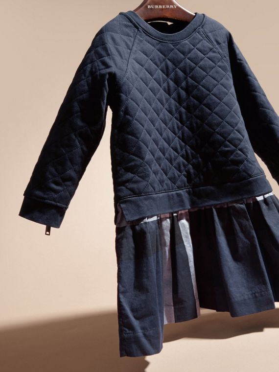 Navy Quilted Jersey and Check Cotton Day Dress Navy - cell image 2