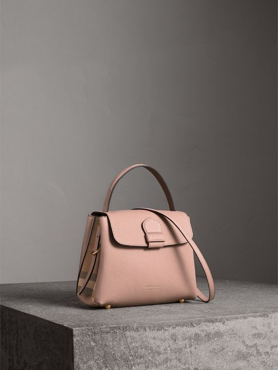 Small Grainy Leather and House Check Tote Bag in Pale Orchid
