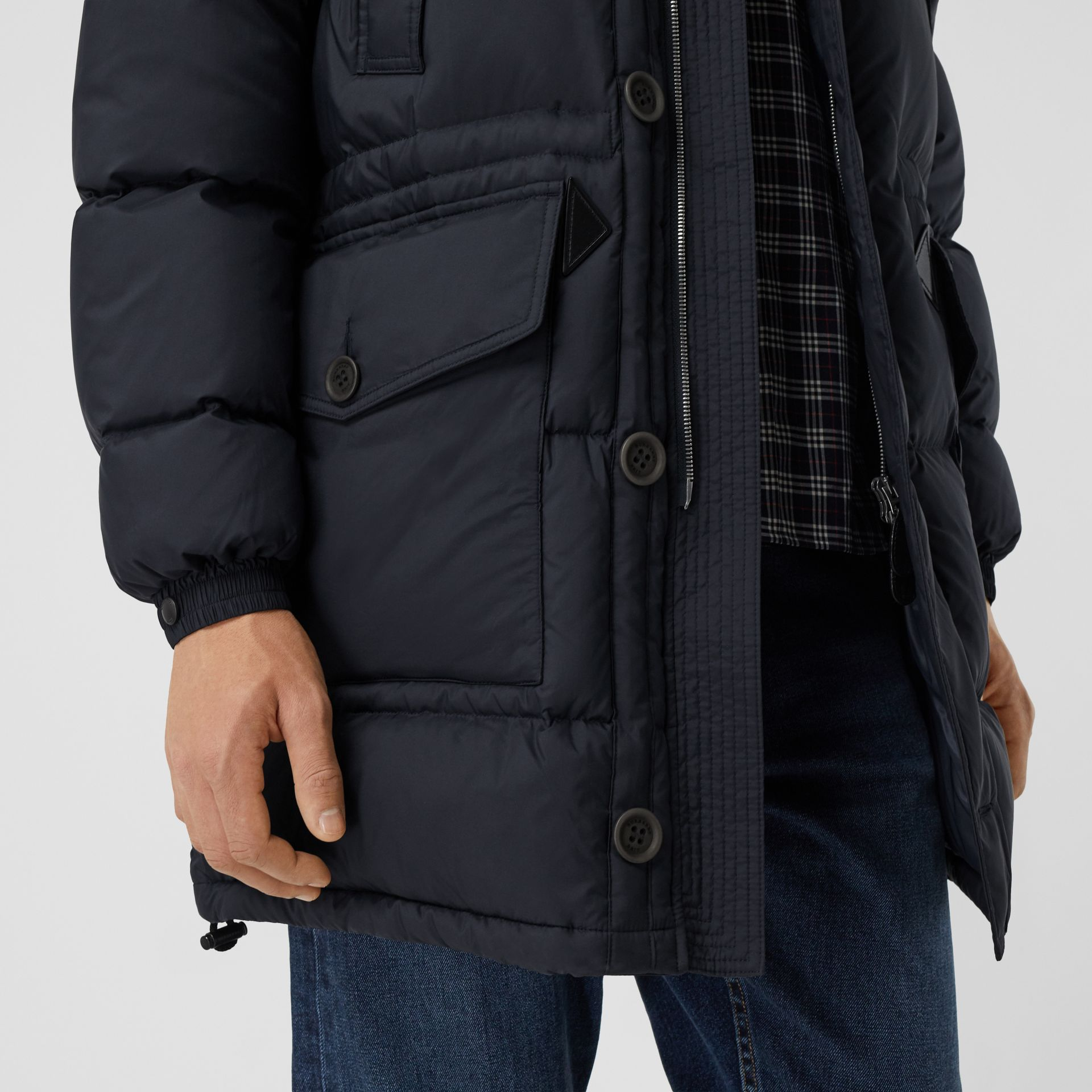 Hooded Puffer Coat in Navy - Men | Burberry - gallery image 4
