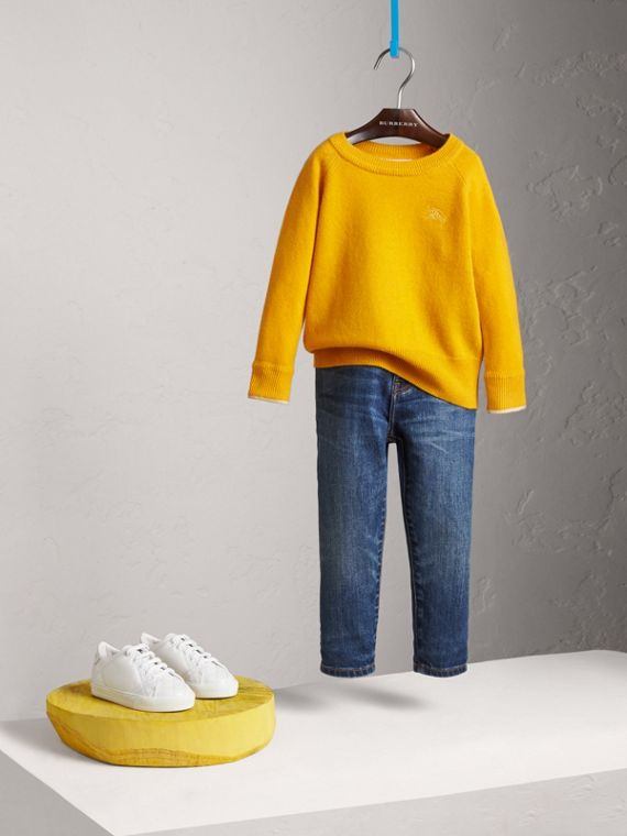 Check Cuff Cashmere Sweater in Amber Yellow - Girl | Burberry - cell image 2