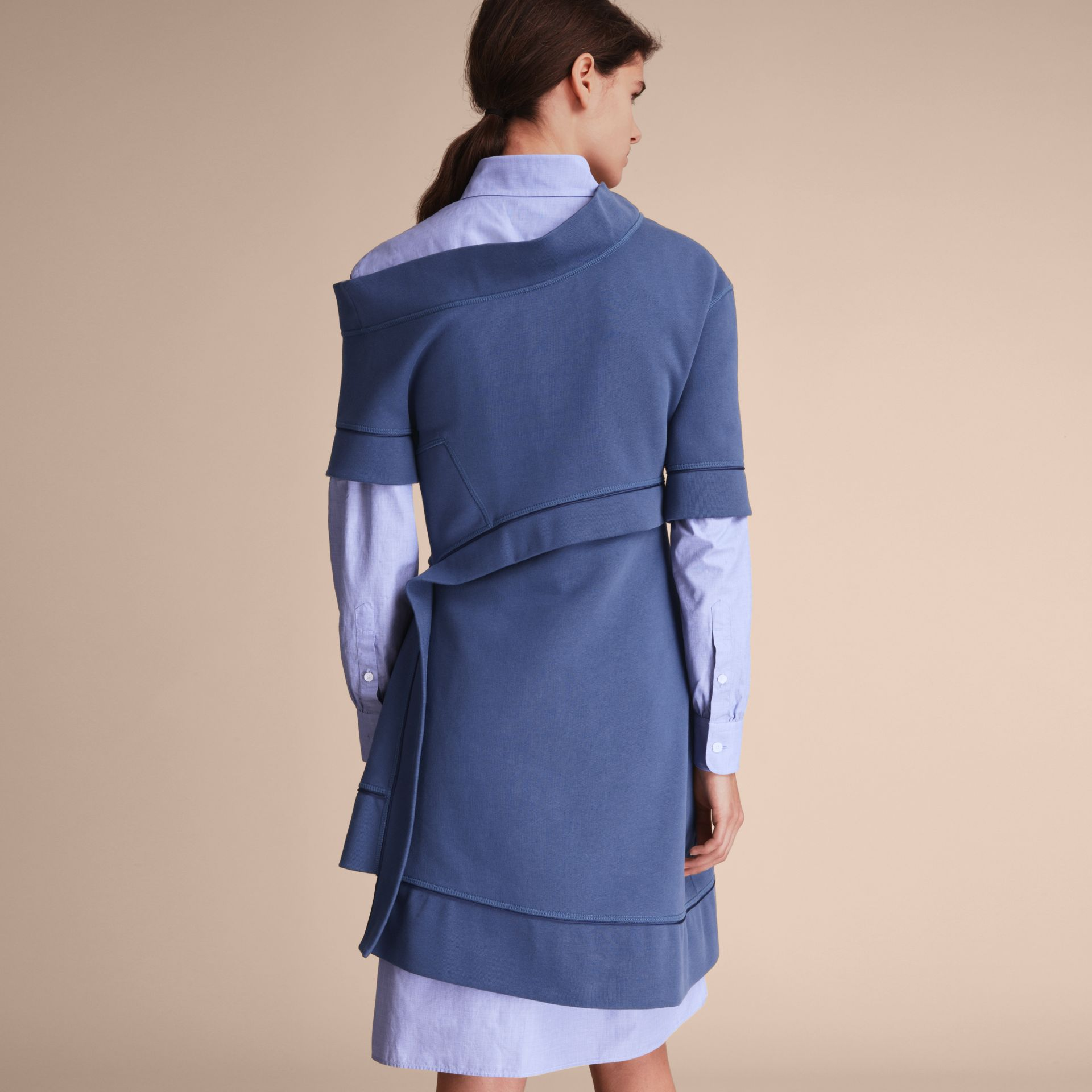 One-shoulder Sweatshirt Dress in Pewter Blue - Women | Burberry Singapore - gallery image 3