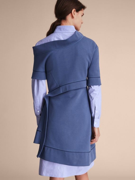 One-shoulder Sweatshirt Dress in Pewter Blue - Women | Burberry Singapore - cell image 2