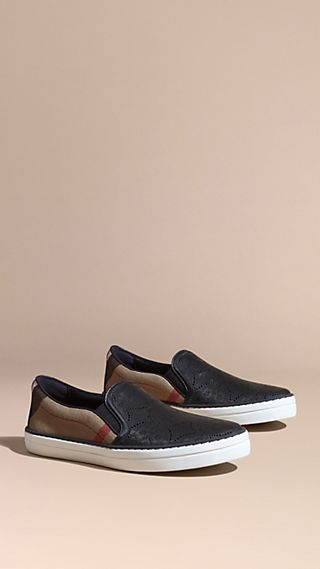 Laser-cut Lace Leather and Check Slip-on Trainers
