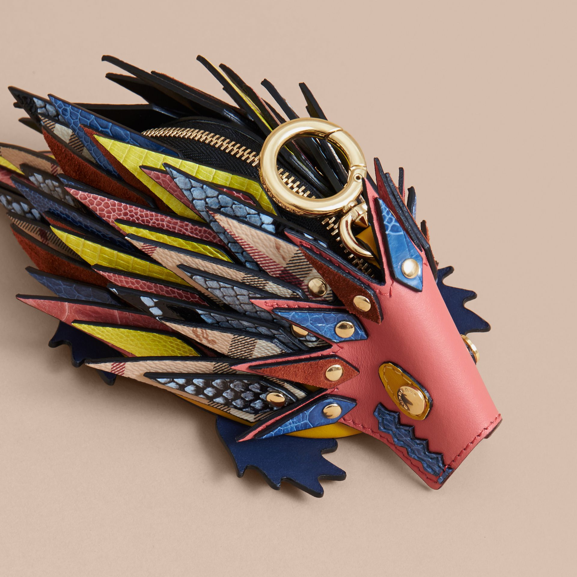 The Hedgehog – Leather and Ostrich Coin Case in Blossom Pink - Women | Burberry Hong Kong - gallery image 4