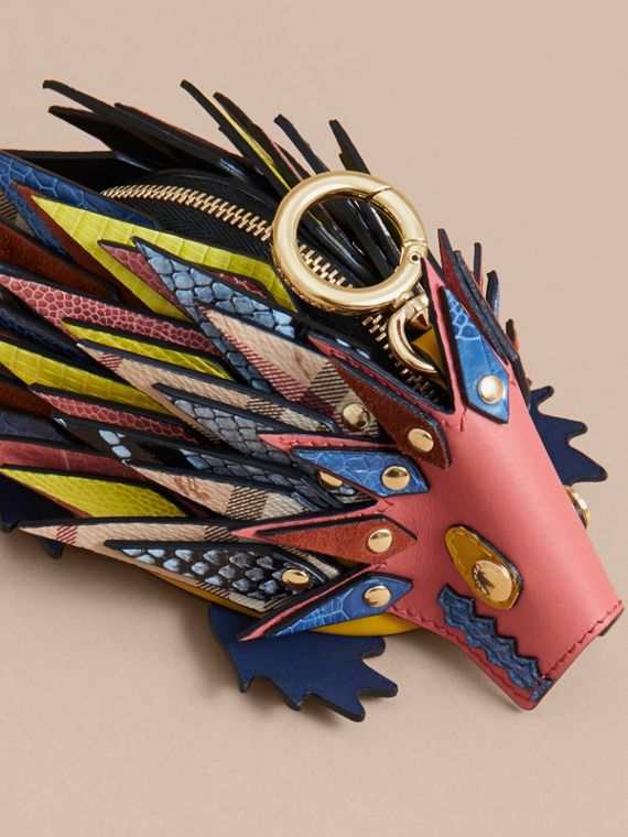 The Hedgehog – Leather and Ostrich Coin Case in Blossom Pink - Women | Burberry - cell image 3