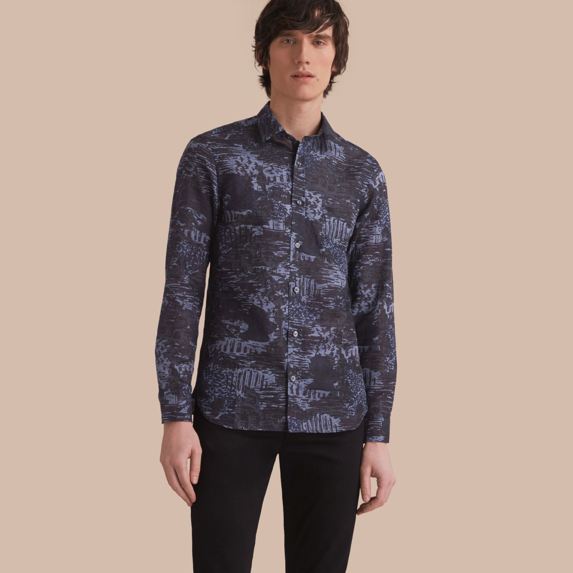British Seaside Print Linen Cotton Shirt - gallery image 1