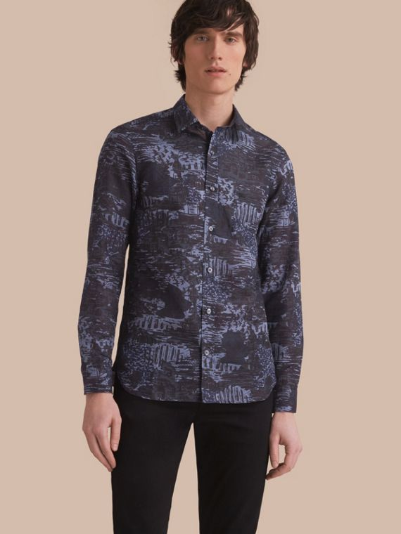 British Seaside Print Linen Cotton Shirt