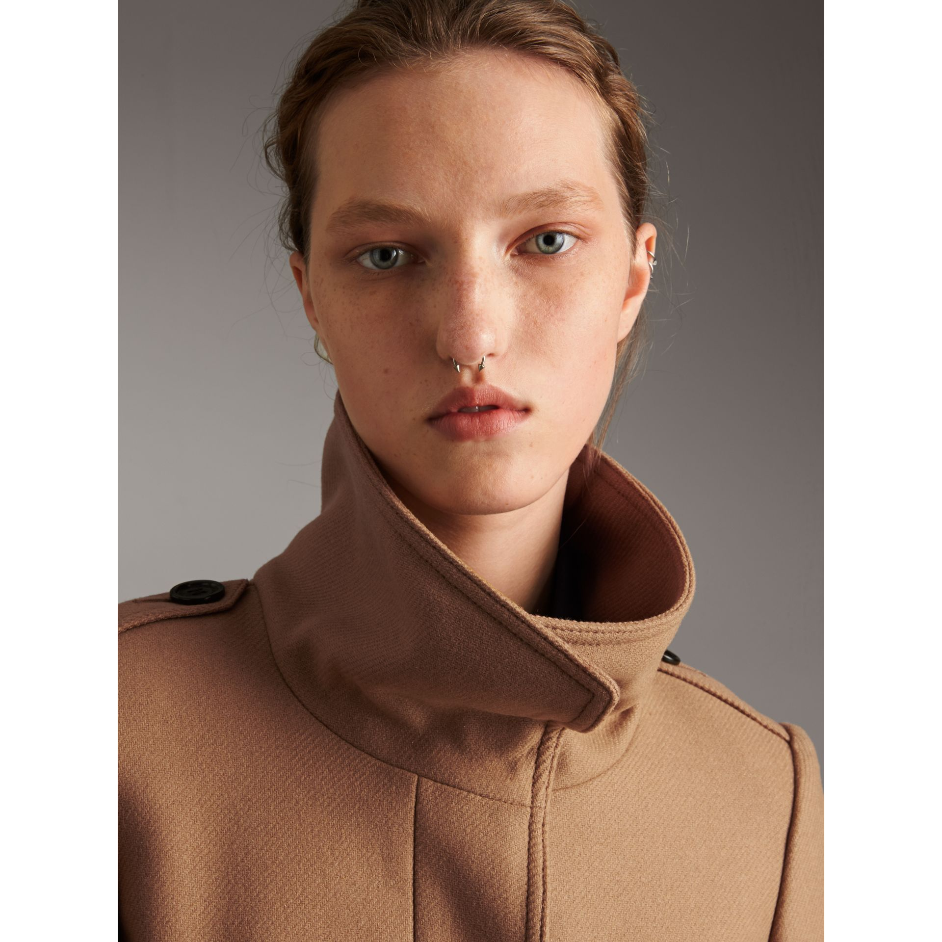 Technical Wool Cashmere Funnel Neck Coat in Camel - Women | Burberry - gallery image 2