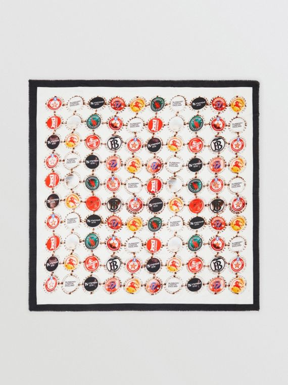 Bottle Cap Print Cotton Silk Large Square Scarf in Multicolour