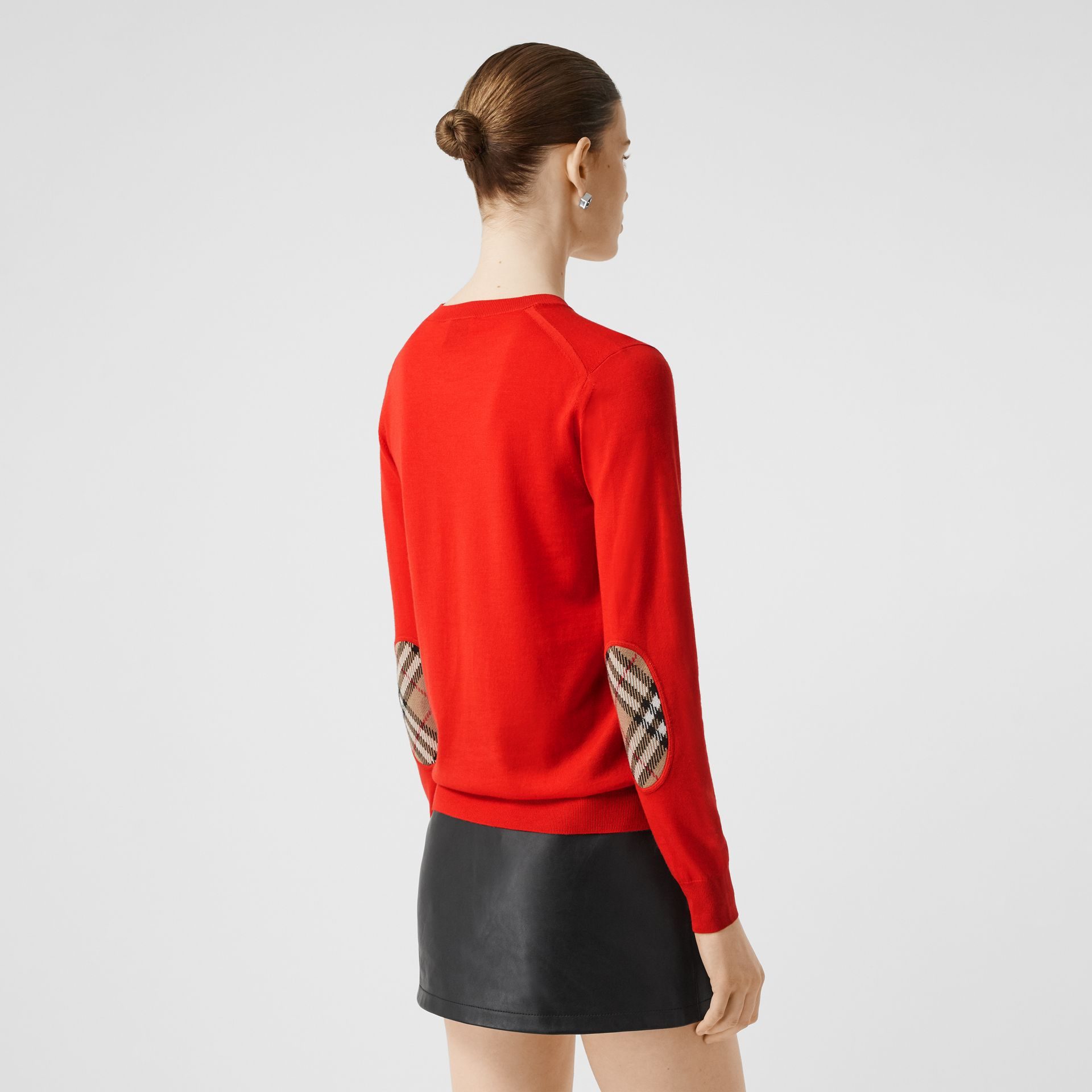 Vintage Check Detail Merino Wool Sweater in Vermillion - Women | Burberry Canada - gallery image 4