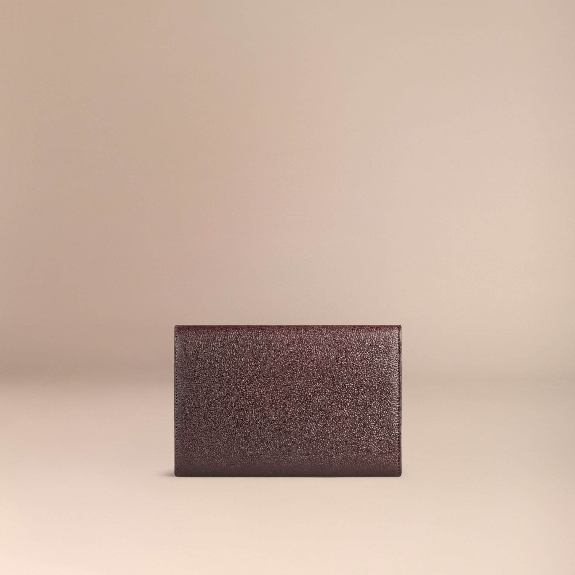 Grainy Leather Travel Wallet in Ebony Red - Men | Burberry - gallery image 3
