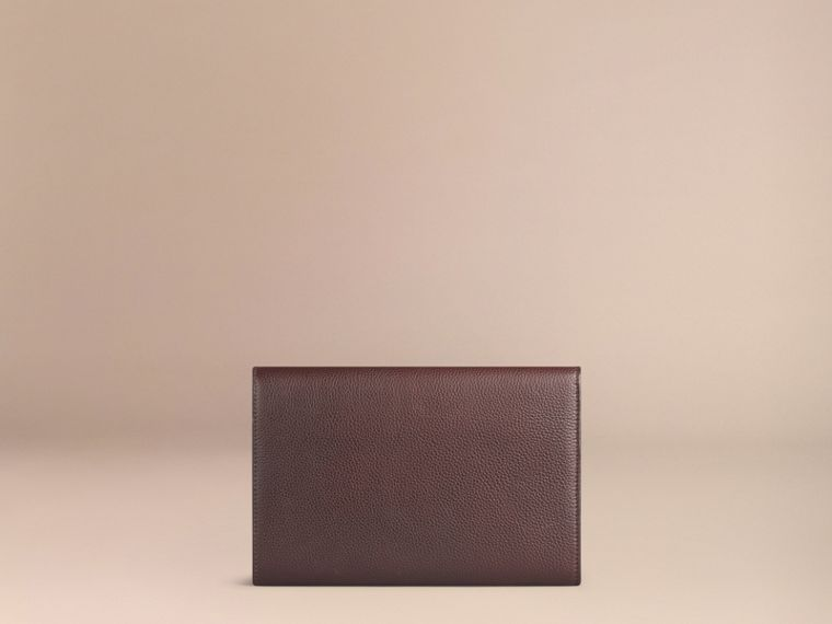 Grainy Leather Travel Wallet in Ebony Red - Men | Burberry - cell image 2
