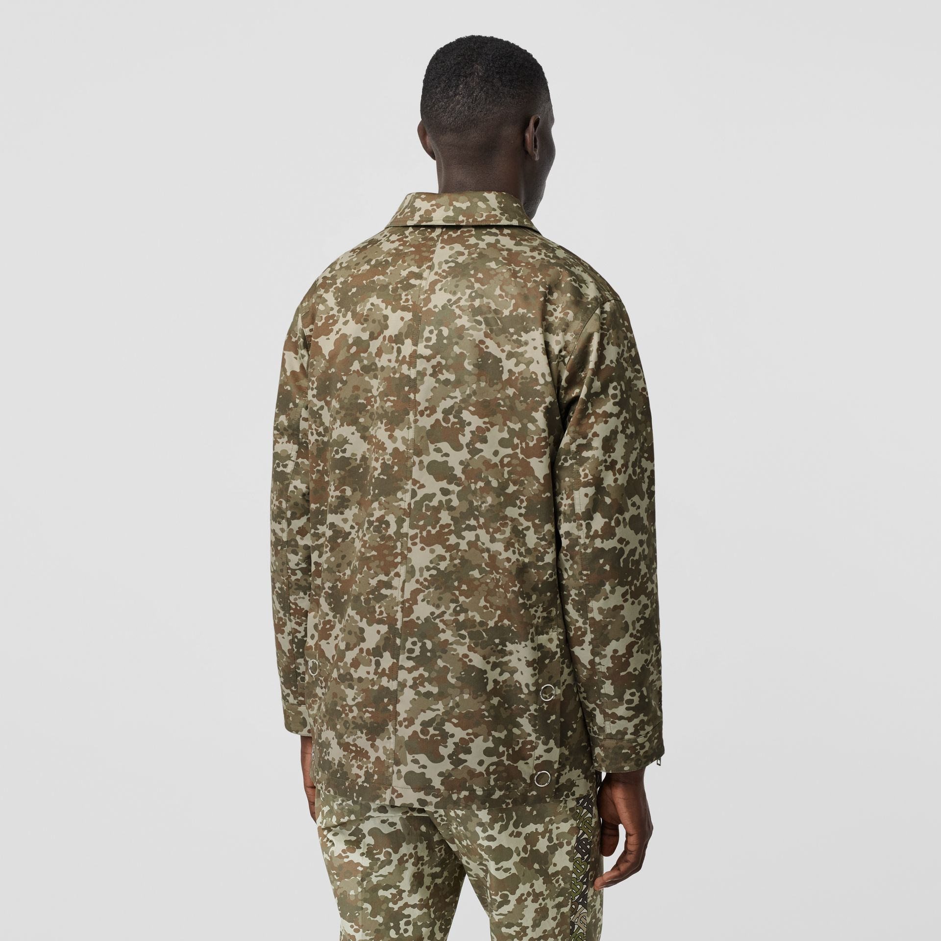 Camouflage Print Cotton Gabardine Jacket in Khaki Green - Men | Burberry - gallery image 3