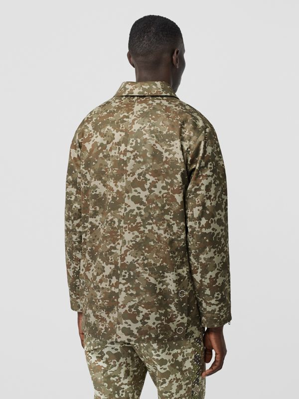 Camouflage Print Cotton Gabardine Field Jacket in Khaki Green - Men | Burberry - cell image 2
