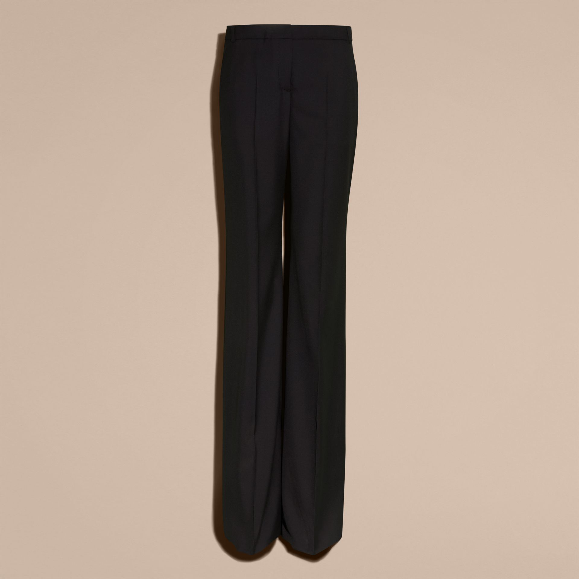 Black Wide-leg Wool Trousers - gallery image 4