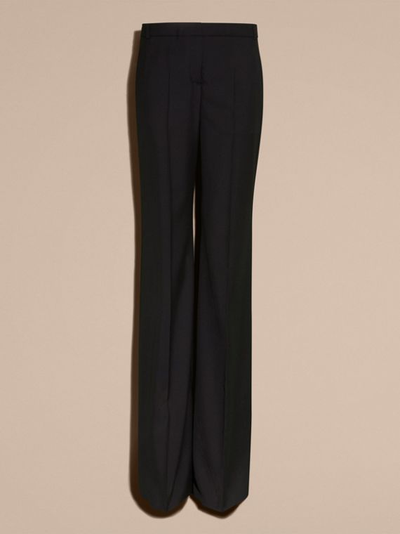 Black Wide-leg Wool Trousers - cell image 3