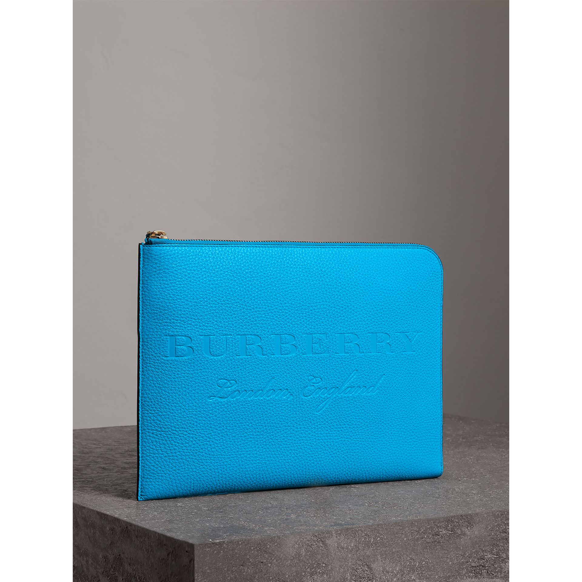 Embossed Leather Document Case in Neon Blue - Men | Burberry Australia - gallery image 6
