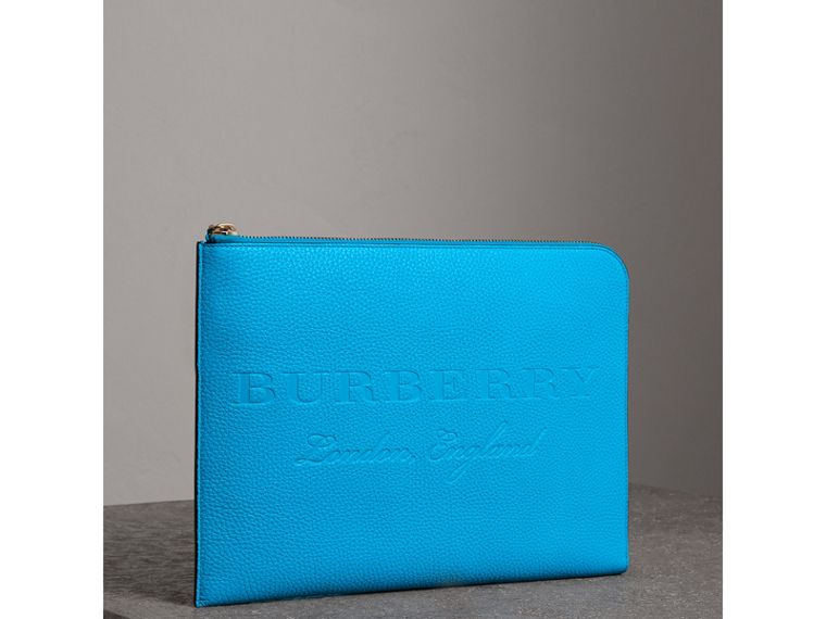 Embossed Leather Document Case in Neon Blue - Men | Burberry United States - cell image 4
