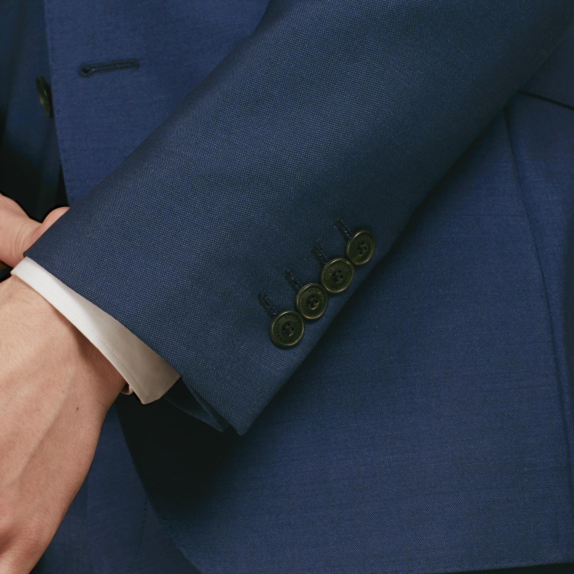 Dark canvas blue Slim Fit Wool Mohair Part-canvas Jacket - gallery image 7