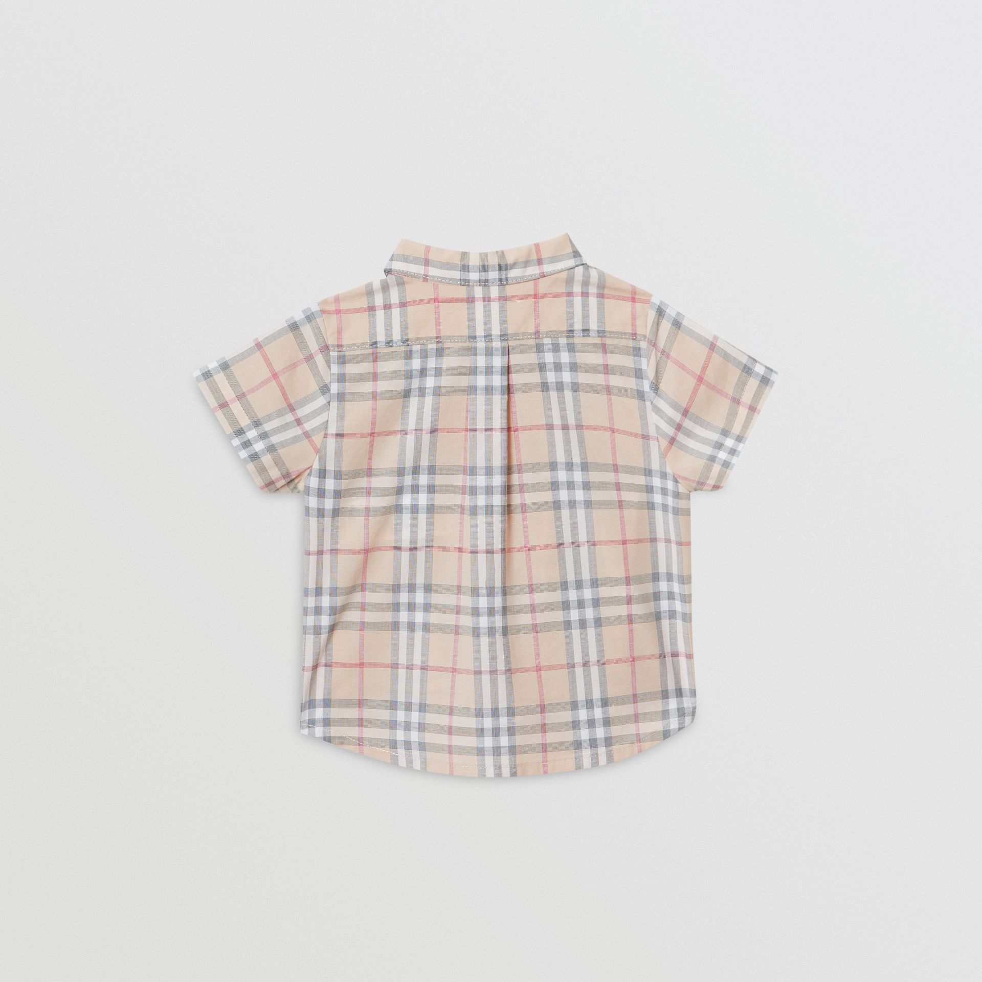Button-down Collar Short-sleeve Check Cotton Shirt in Pale Stone - Children | Burberry - gallery image 3