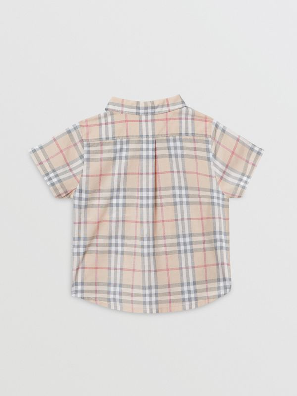 Button-down Collar Short-sleeve Check Cotton Shirt in Pale Stone - Children | Burberry - cell image 3