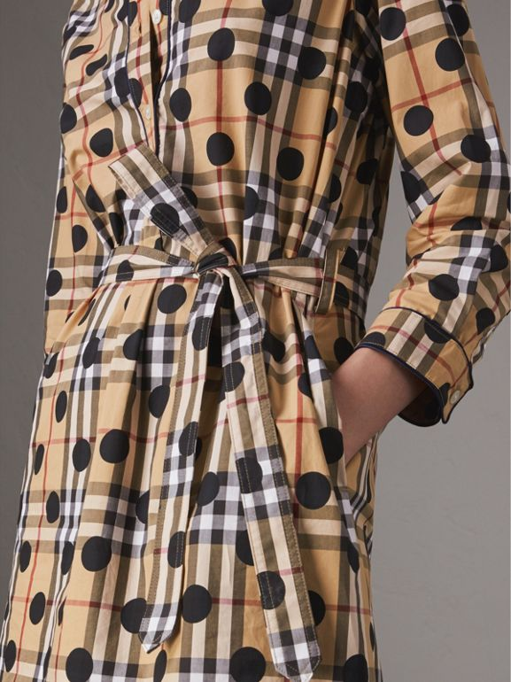 Polka-dot Print Check Cotton Tunic Dress in Navy | Burberry - cell image 1