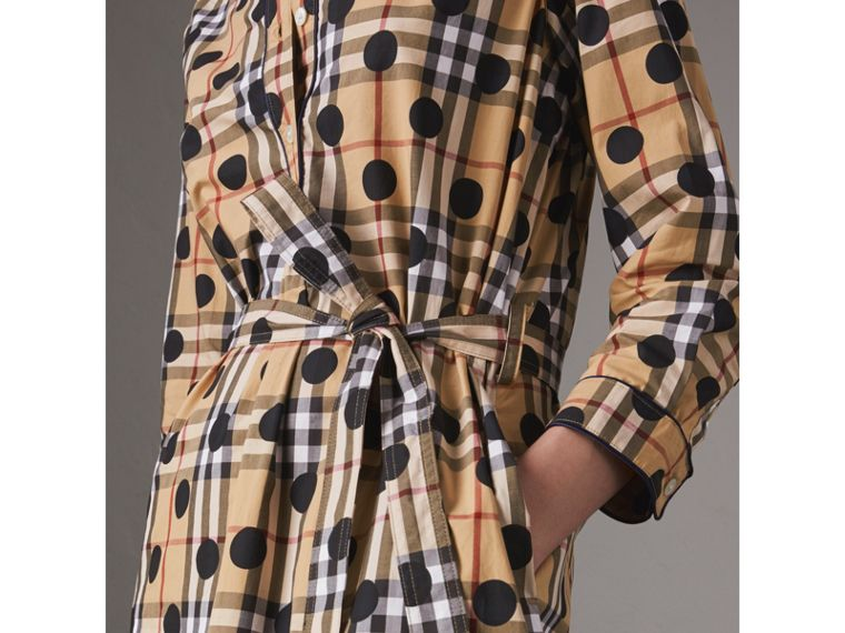 Polka-dot Print Check Cotton Tunic Dress in Navy - Women | Burberry - cell image 1