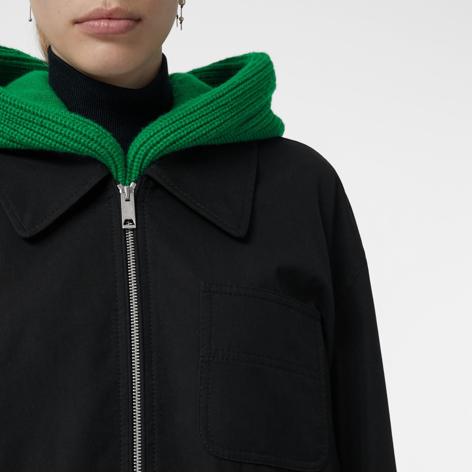 Tropical Gabardine Harrington Jacket in Black - Women | Burberry United Kingdom - gallery image 4