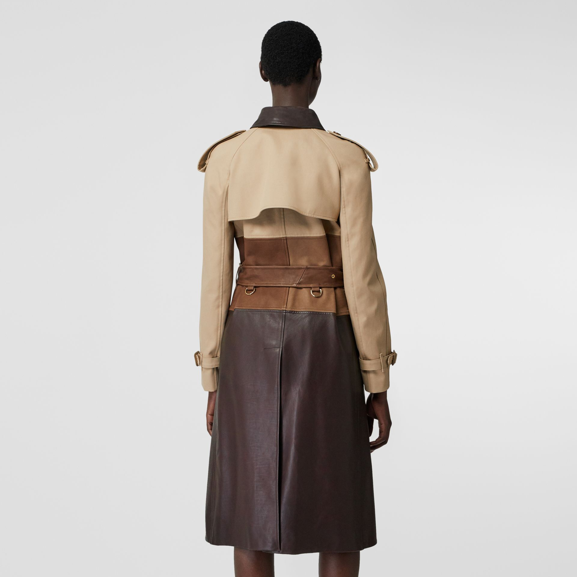 Deconstructed Cotton and Lambskin Trench Coat in Honey - Women | Burberry - gallery image 2