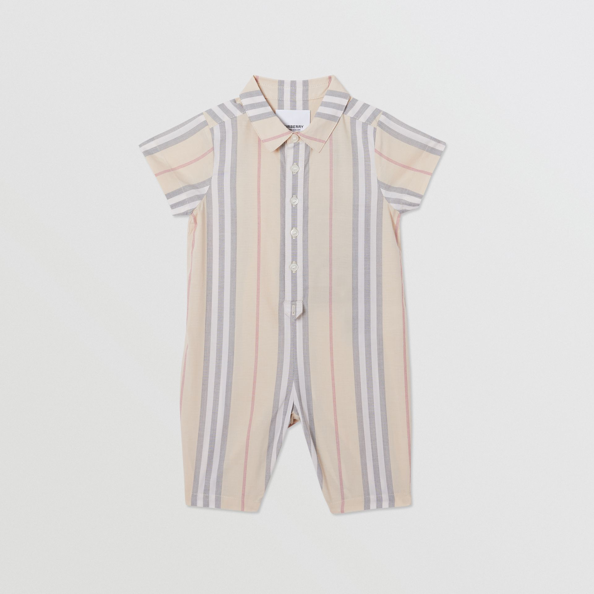 Icon Stripe Cotton Jumpsuit in Pale Stone - Children | Burberry - gallery image 0