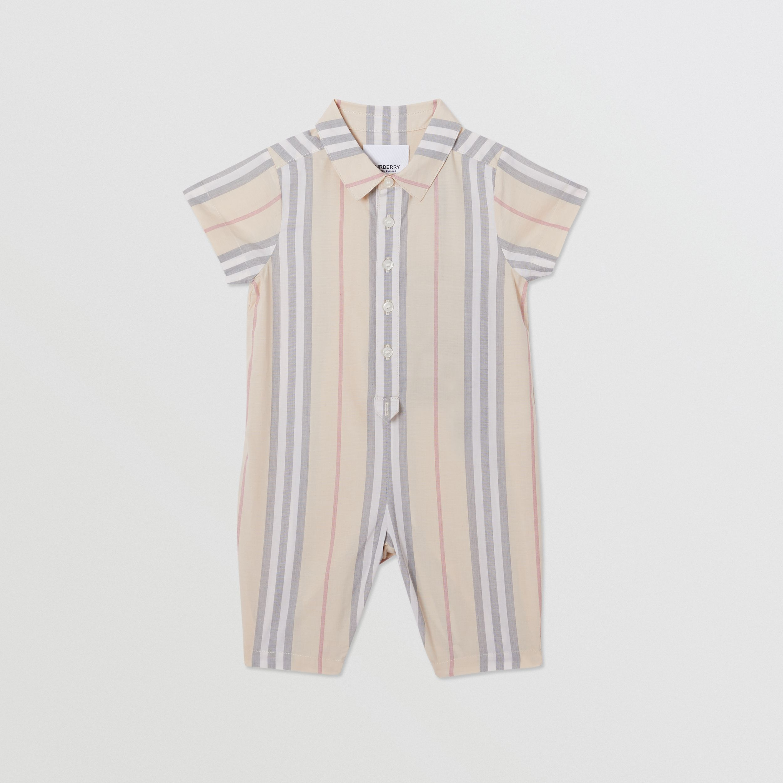 Icon Stripe Cotton Jumpsuit in Pale Stone - Children | Burberry - 1