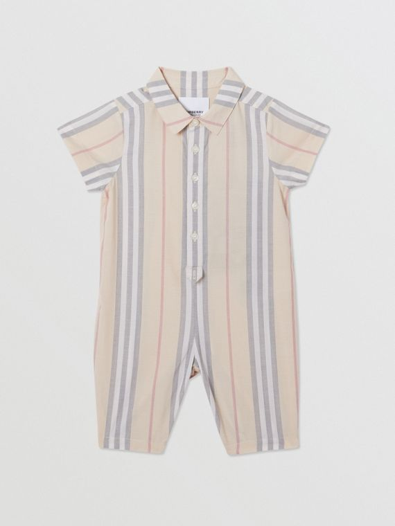 Icon Stripe Cotton Jumpsuit in Pale Stone