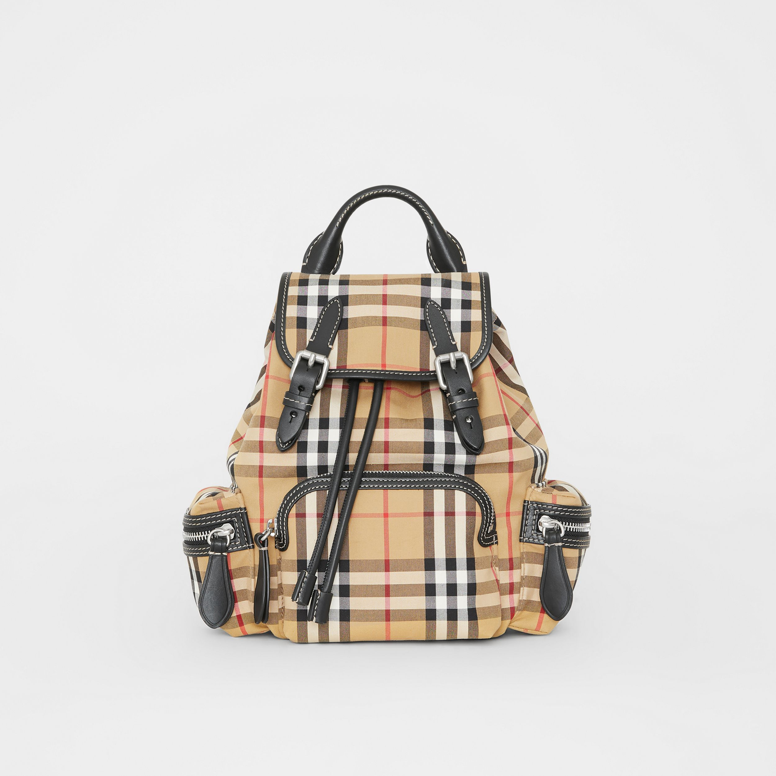 The Small Rucksack in Vintage Check and Leather in Antique Yellow - Women | Burberry - 1