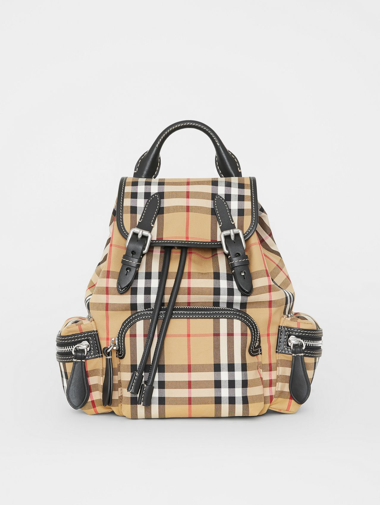 The Small Rucksack in Vintage Check and Leather in Antique Yellow