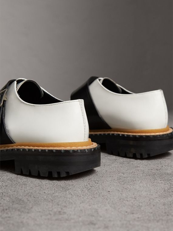 Buckle Detail Woven-toe Leather Shoes in Off White - Women | Burberry Australia - cell image 3