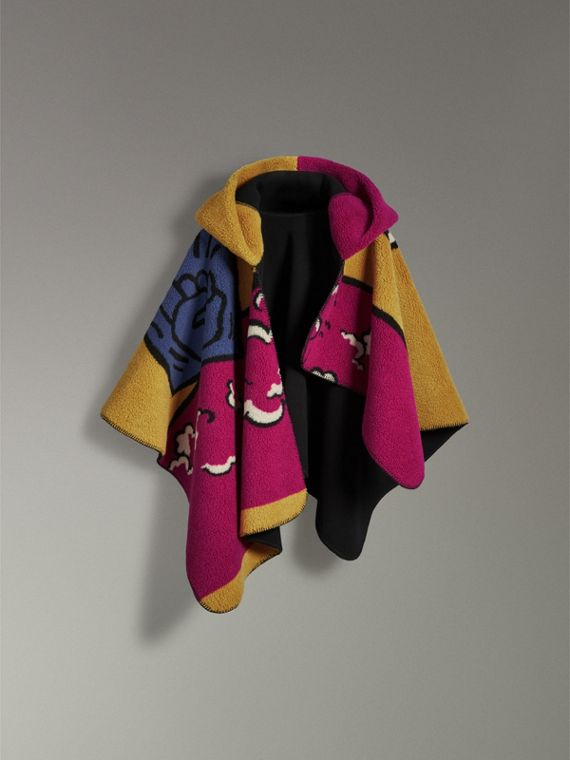 Poster Graphic Fleece Jacquard Hooded Poncho in Multicolour - Women | Burberry Hong Kong - cell image 3