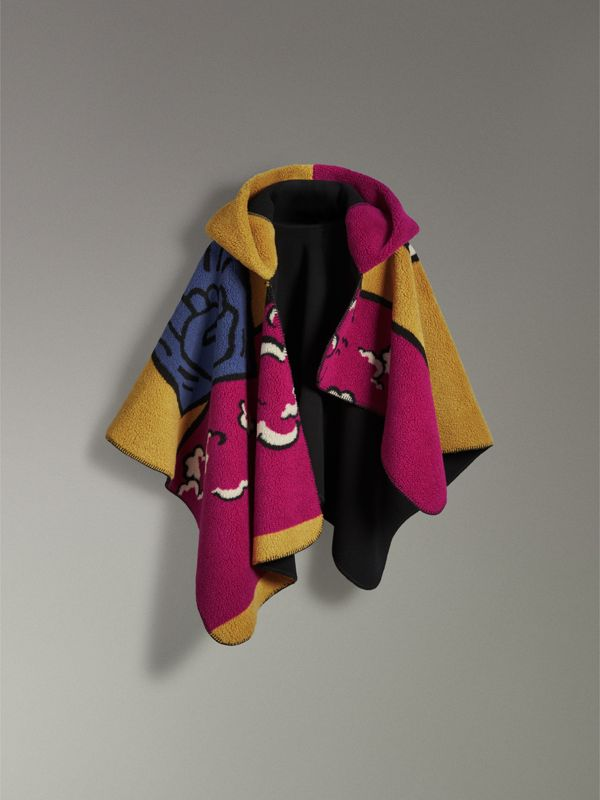 Poster Graphic Fleece Jacquard Hooded Poncho in Multicolour - Women | Burberry Canada - cell image 3