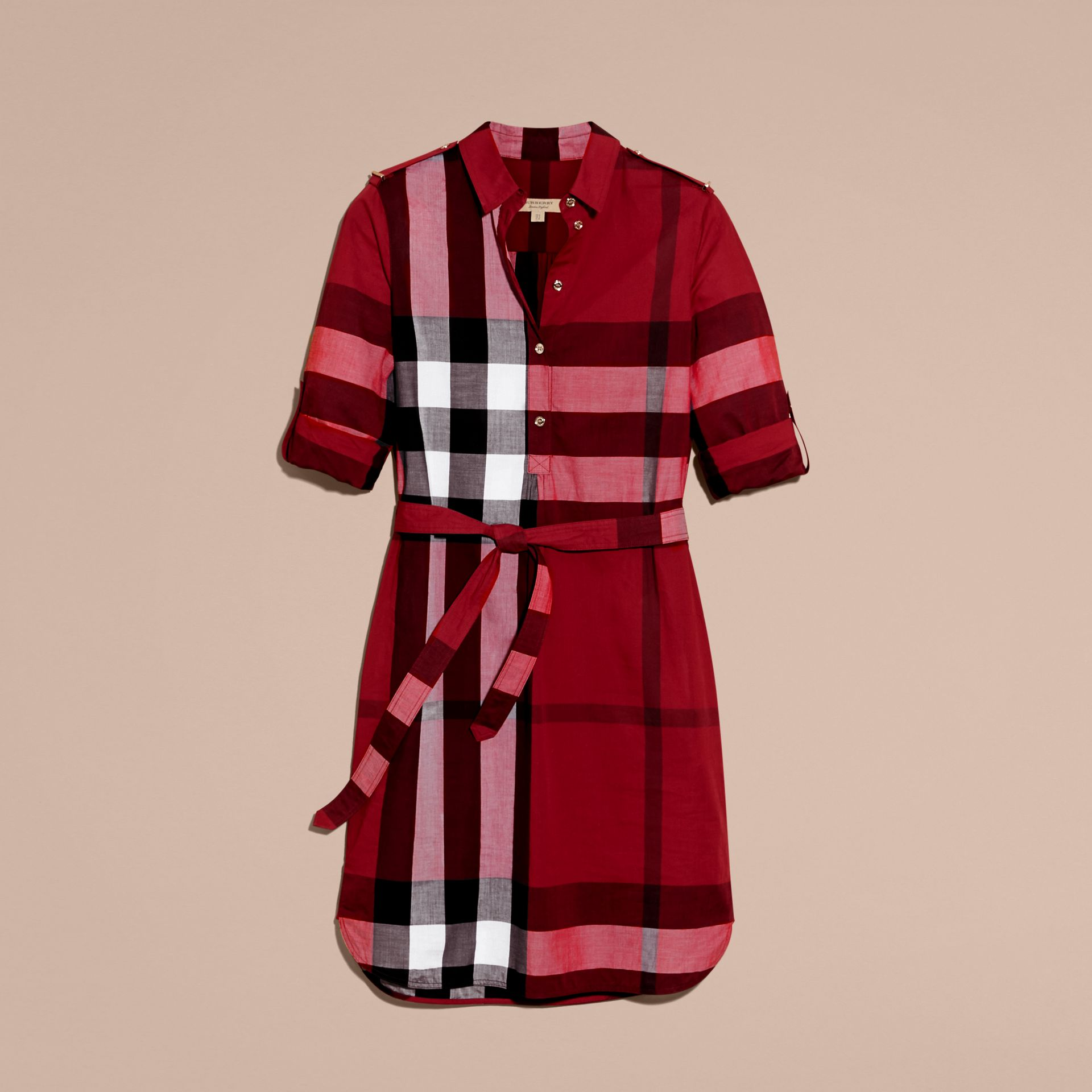 Check Cotton Shirt Dress in Parade Red - gallery image 4