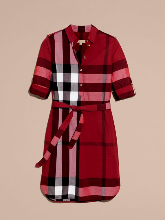Parade red Check Cotton Shirt Dress Parade Red - cell image 3