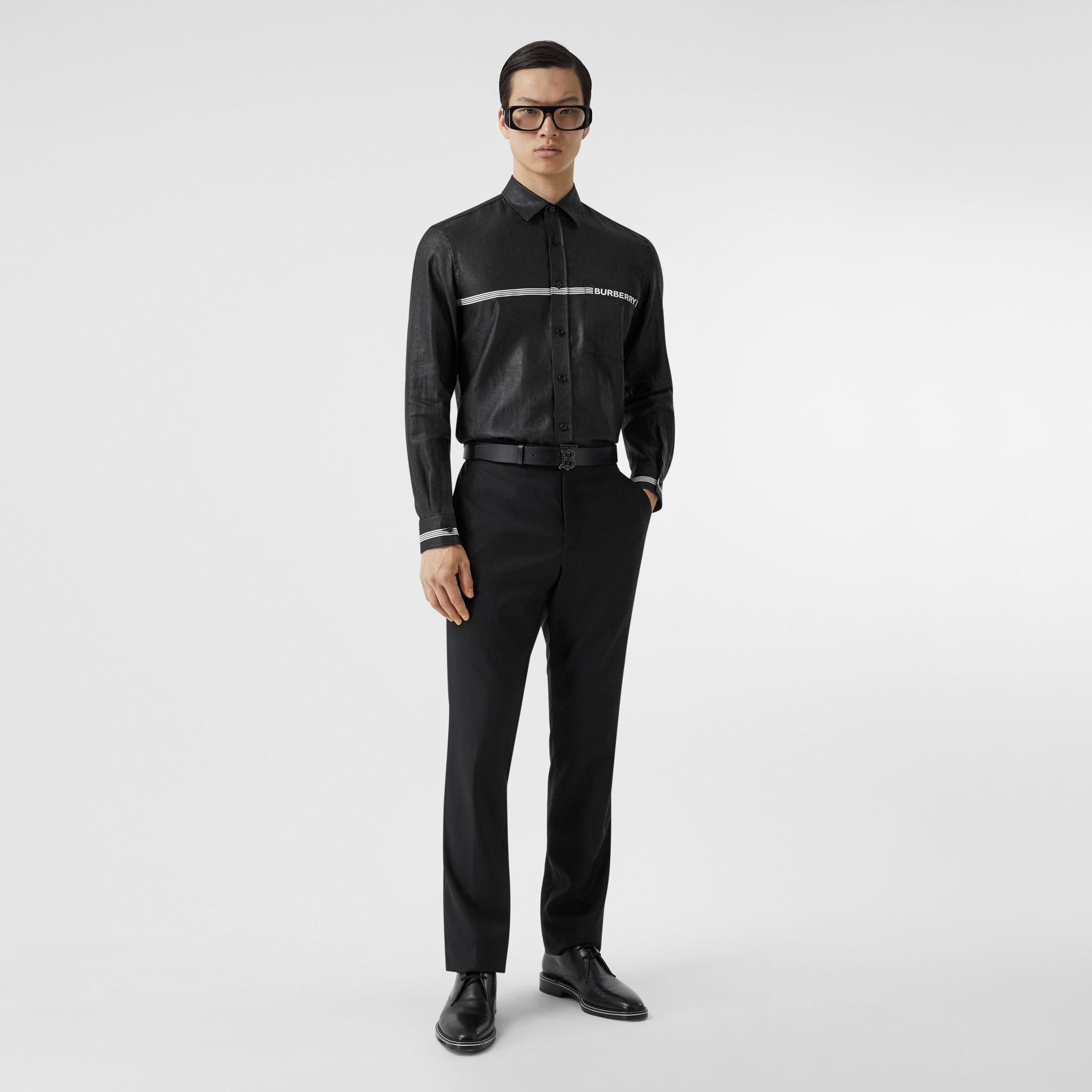 Logo Print Linen Blend Shirt in Black | Burberry - gallery image 5