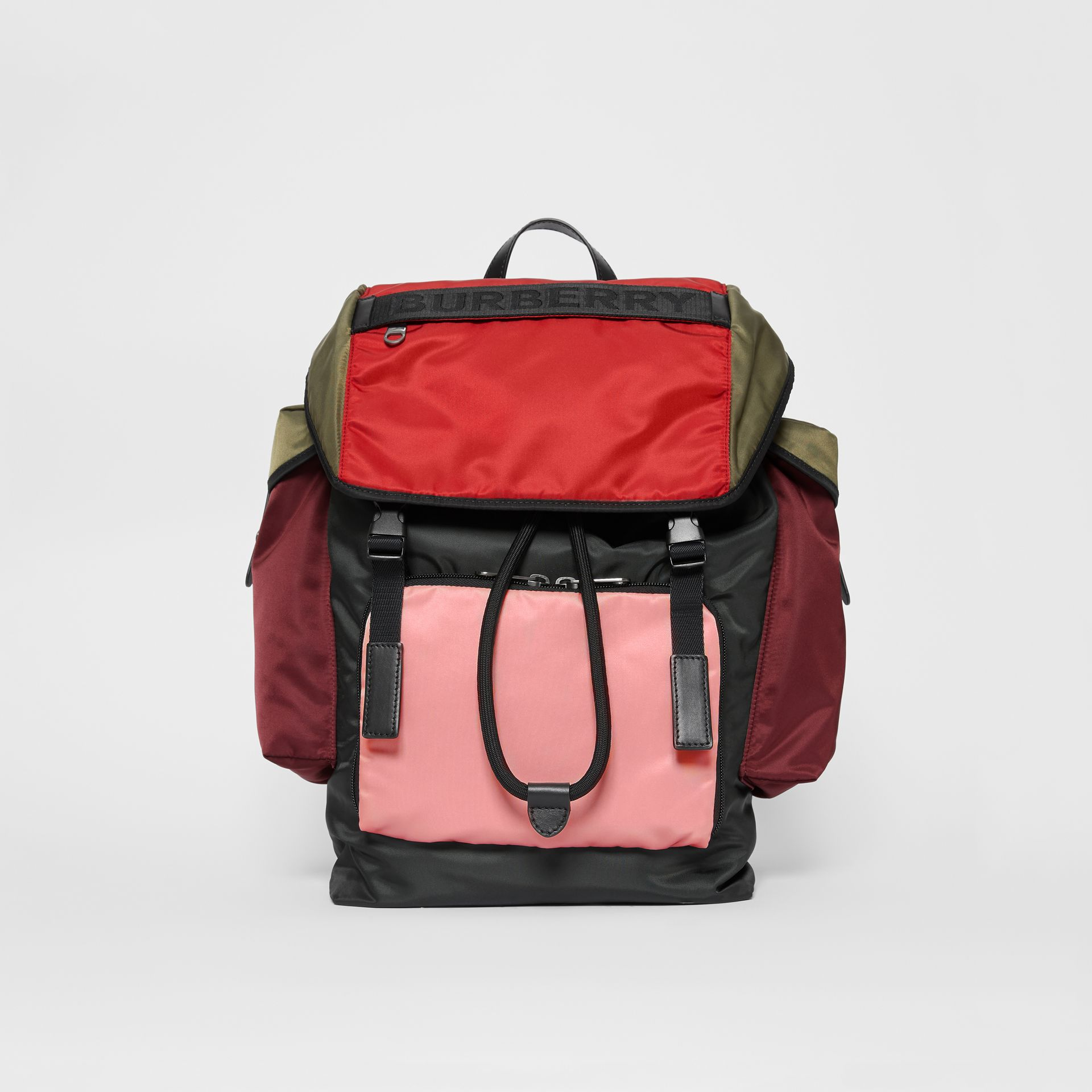 Large Leather Trim Colour Block Nylon Backpack in Multicolour | Burberry - gallery image 0