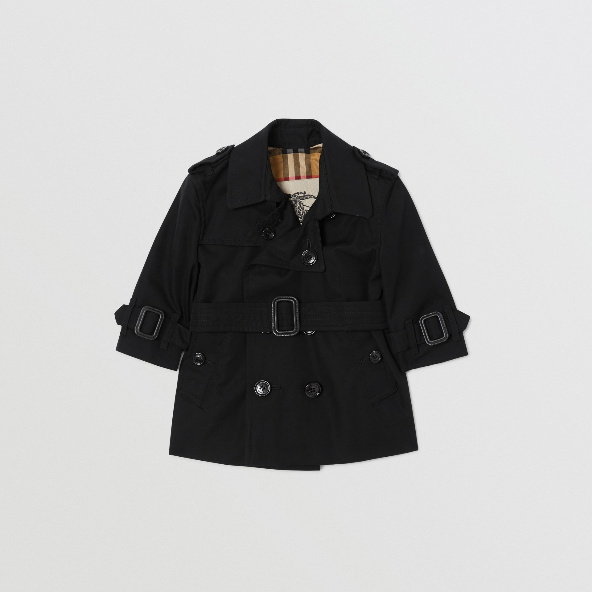 Cotton Gabardine Trench Coat in Black - Children | Burberry - gallery image 0